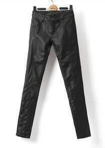 Black Low Waist Slim Leather Pant