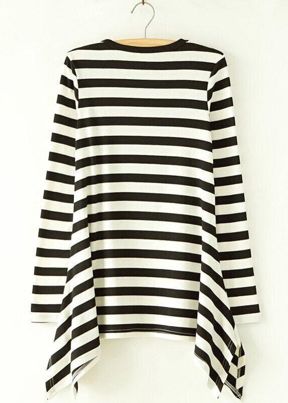 cb941870c0 Black White Striped Long Sleeve Ruffles T-Shirt   SHEIN UK