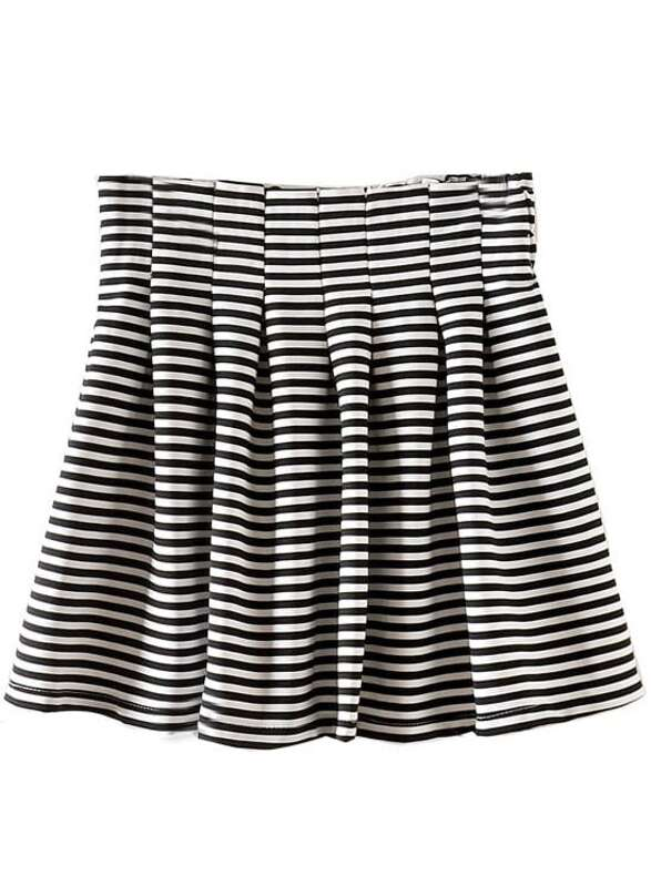 3a45a0285 Black White Striped Pleated Flare Skirt   SHEIN