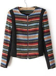 Multi Long Sleeve Zipper Striped Crop Jacket