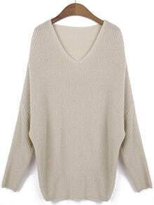 Apricot V Neck Batwing Long Sleeve Knit Sweater