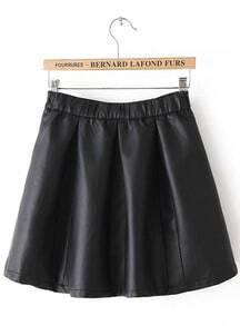 Black Zipper Flare Leather Skirt