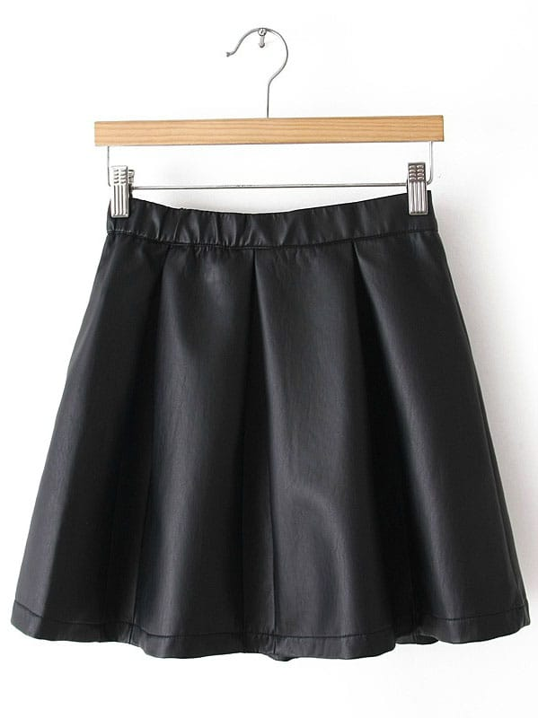 black zipper flare leather skirt shein sheinside