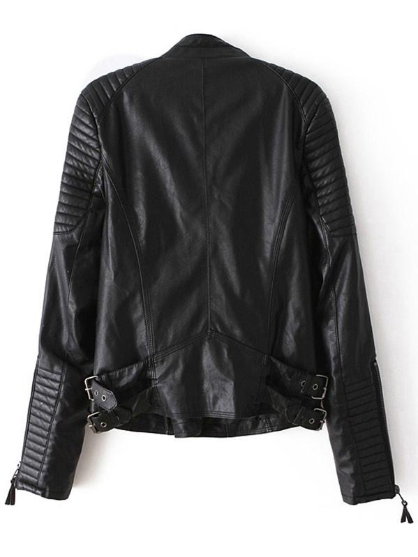 Quilted Sleeve Zipper Pu Jacket Sheinsheinside