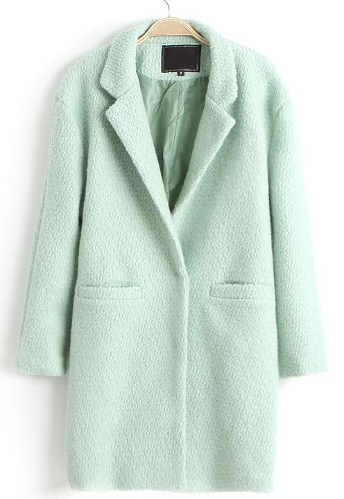 eb9e0e7bccc Abrigo largo de lana solapa doble bolsillos-Verde de menta
