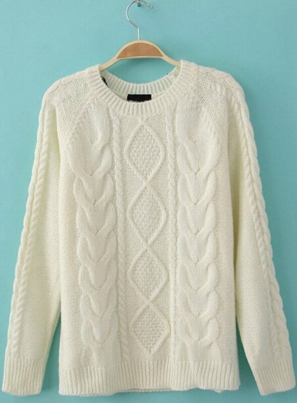 bc76886dfb4541 White Diamond Cable Knitting Long Sleeve Sweater