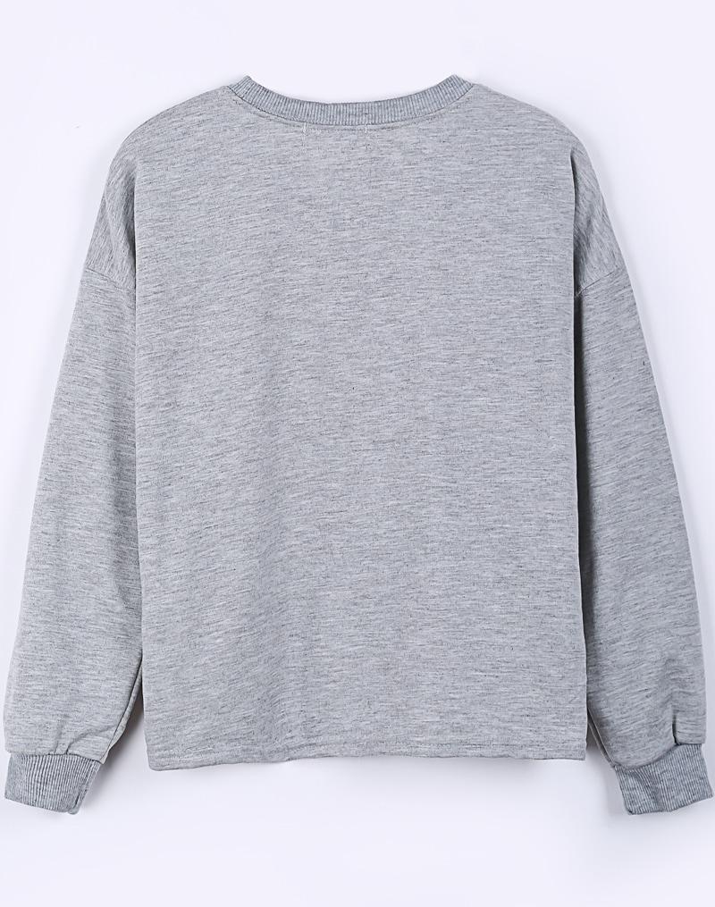 grey long sleeve kuskies print crop sweatshirt shein. Black Bedroom Furniture Sets. Home Design Ideas