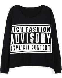Black ADVISORY Print Long Sleeve Loose T-shirt