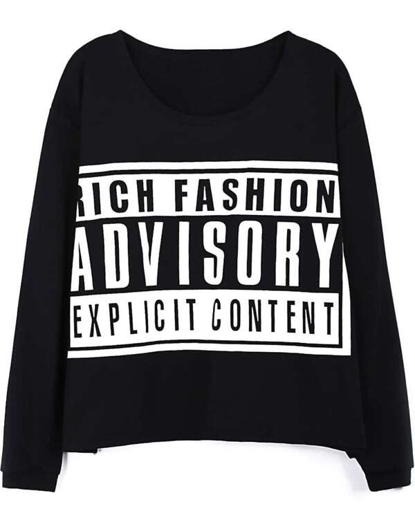543e14f705 Black ADVISORY Print Long Sleeve Loose T-shirt. AddThis Sharing Buttons