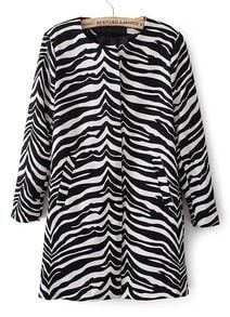 Black and White Zebra Print Round Neck Coat