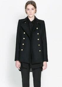 Black Notch Lapel Long Sleeve Buttons Outerwear