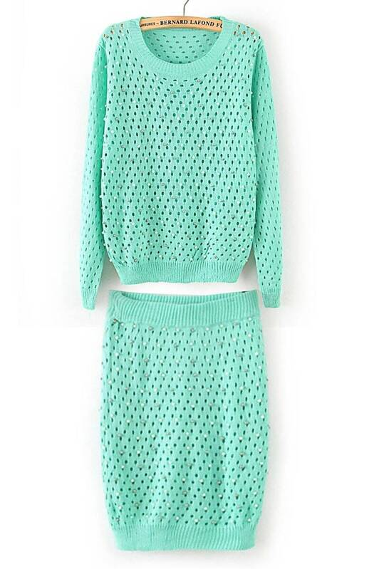 Green Long Sleeve Hollow Bead Sweater With Skirt -SheIn(Sheinside) c1ee62db34231