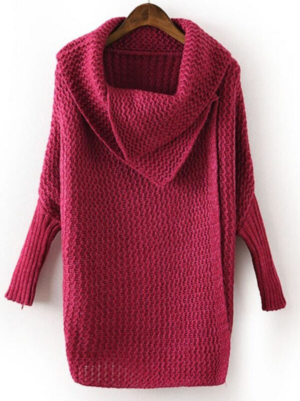 38ea89fd65b9 Rose Red Lapel Long Sleeve Batwing Loose Sweater -SheIn(Sheinside)