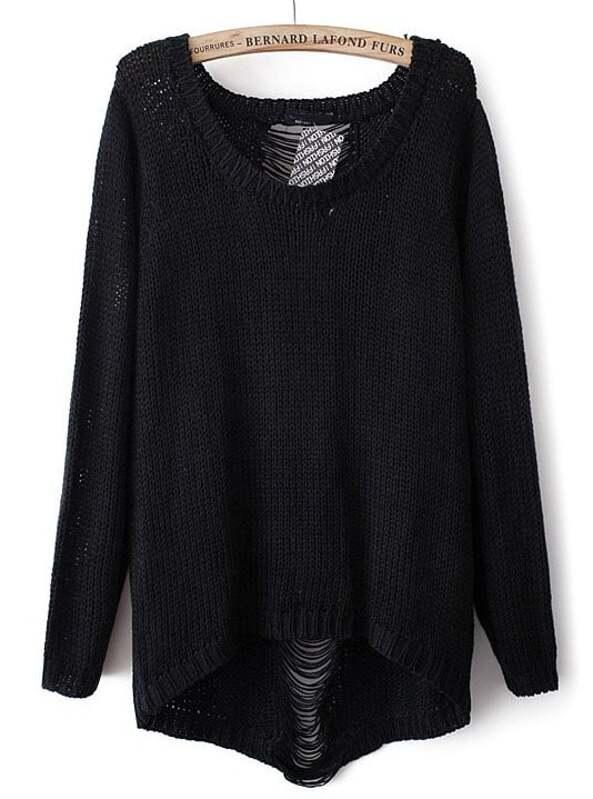Black Long Sleeve Ripped Knit Loose Sweater -SheIn(Sheinside) a5b2b6ea0