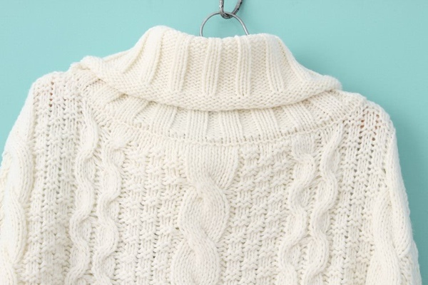 Turtleneck Chunky Cable Knit Sweater Sheinsheinside