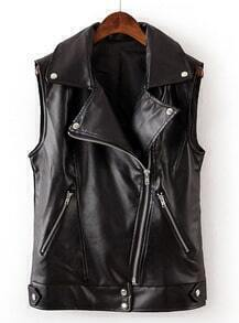 Black Lapel Sleeveless Zipper PU Leather Vest