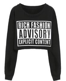 Black Round Neck ADVISORY Print Crop Sweatshirt