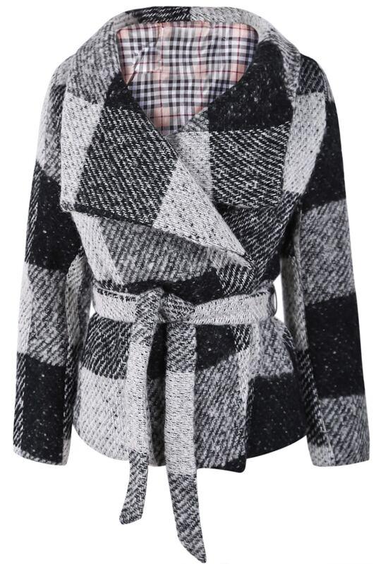 4f73c67e4a Cheap Black Grey Plaid Lapel Long Sleeve Belt Coat for sale Australia |  SHEIN