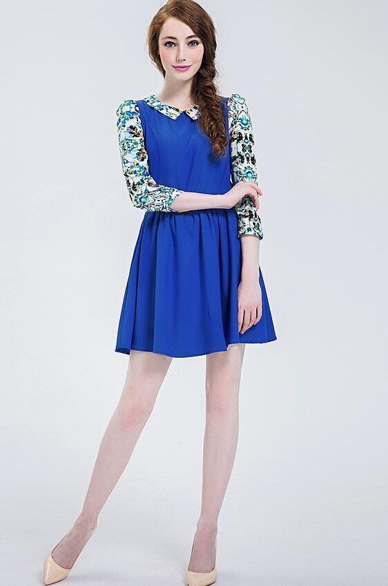 Royal Blue Contrast Florals Print Collar Chiffon Dress