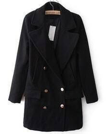 Black Lapel Long Sleeve Buttons Trench Coat