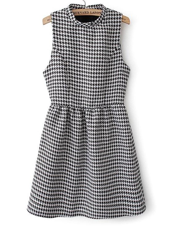 1f6cc5bb2f Cheap Black White Sleeveless Houndstooth Flare Dress for sale Australia |  SHEIN