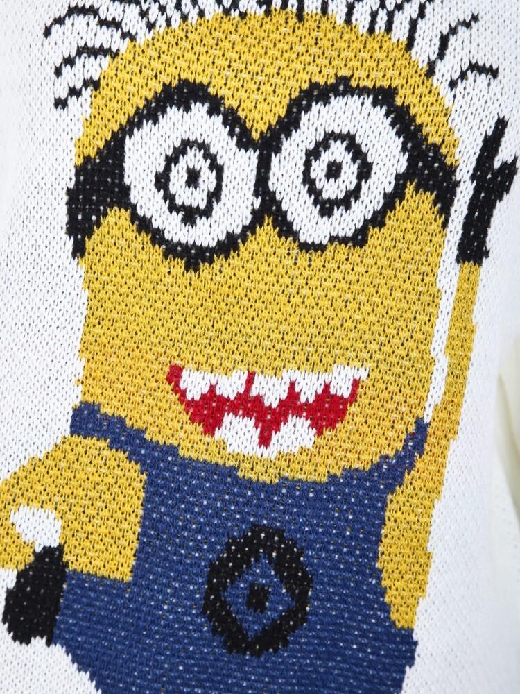 White Round Neck Cartoon Minion Knitting Sweater -SheIn(Sheinside)