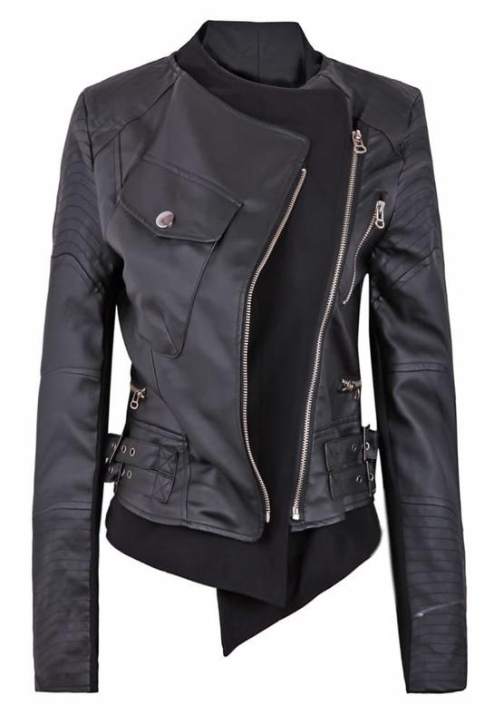 3a9fc4f616 Black Zipper Embellished Faux Leather Biker Jacket. AddThis Sharing Buttons