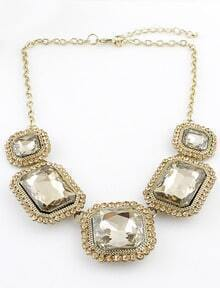 Gold Gemstone Square Chain Necklace
