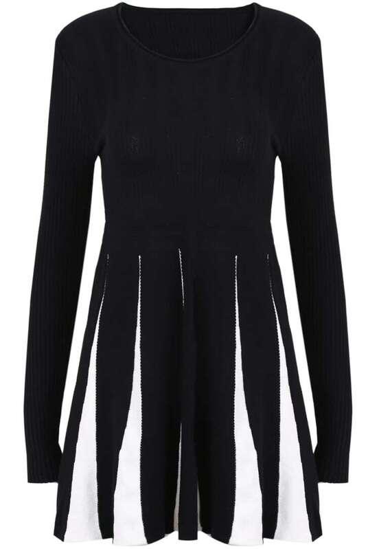 05d843e7fff Black Long Sleeve Contrast Vertical Stripe Sweater Dress