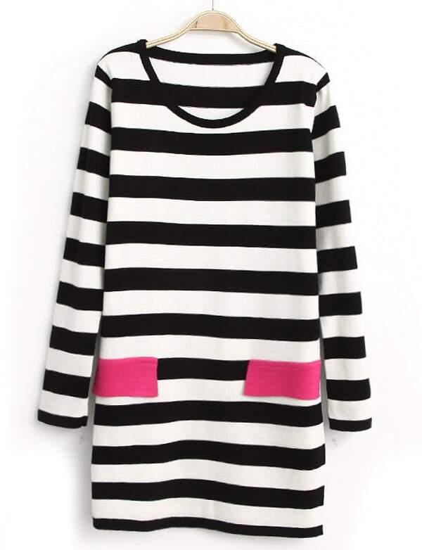 7e04b685ac Vestido punto rayas bolsillos manga larga-Negro y blanco