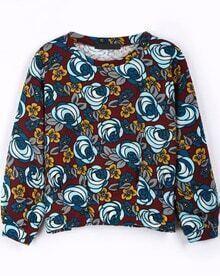 Blue Long Sleeve Rose Print Crop T-Shirt