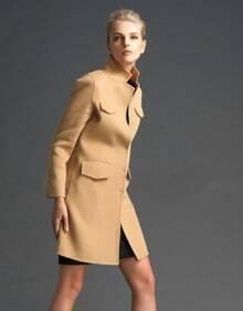 Khaki Stand Collar Long Sleeve Pockets Coat