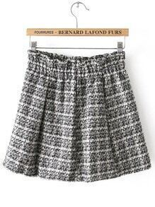 Black White Elastic Waist Plaid Skirt