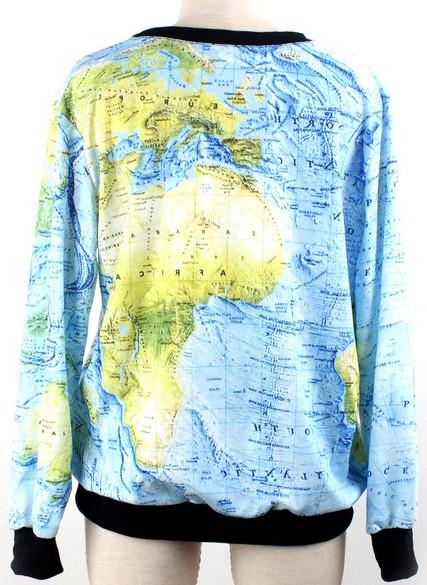 Blue green long sleeve world map print sweatshirt sheinsheinside gumiabroncs Gallery