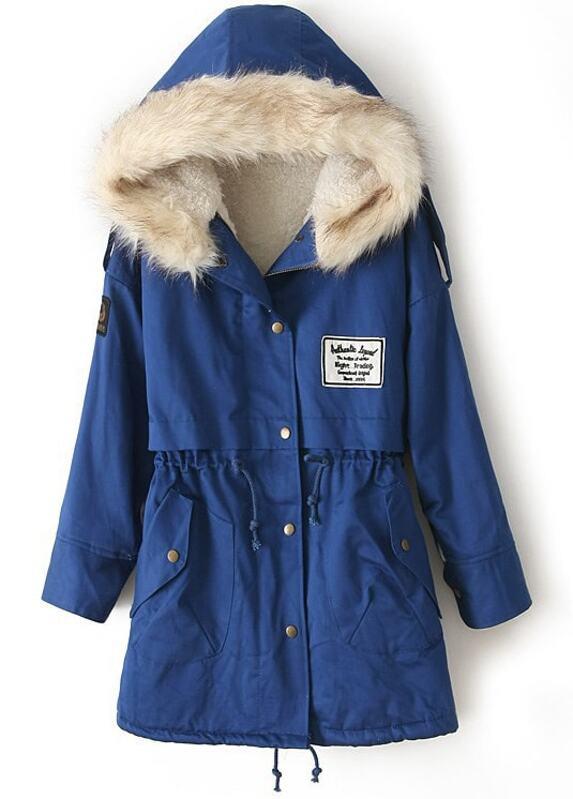 fd99d176ff Faux Fur Hooded Fleece Inside Military Parka Coat | SHEIN