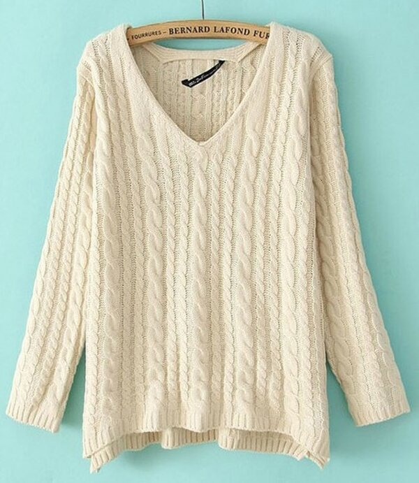 98589d31d02c8 Beige V-neck Long Sleeve Loose Cable Knitting Sweater -SheIn(Sheinside)
