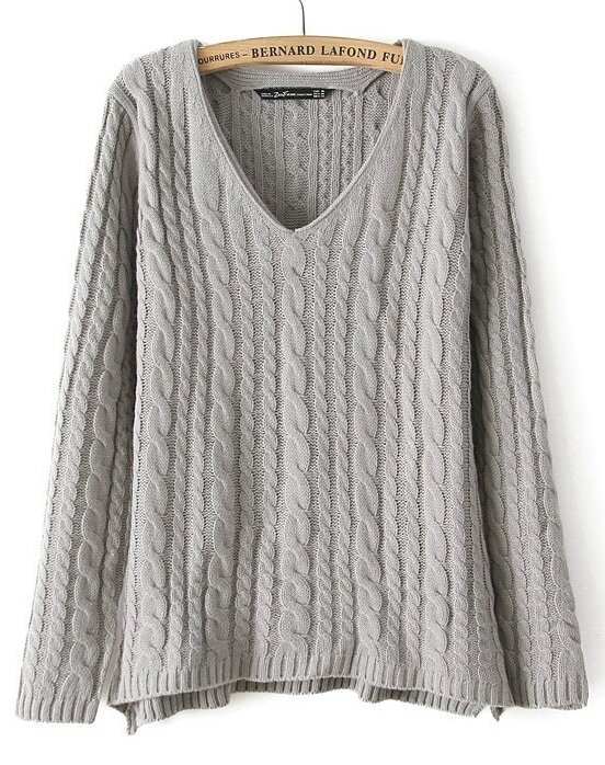 Grey V Neck Long Sleeve Loose Cable Knitting Sweater Sheinsheinside