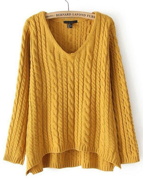 Jersey punto trenza suelto cuello pico manga larga-Amarillo. AddThis  Sharing Buttons 4302431d6cb8