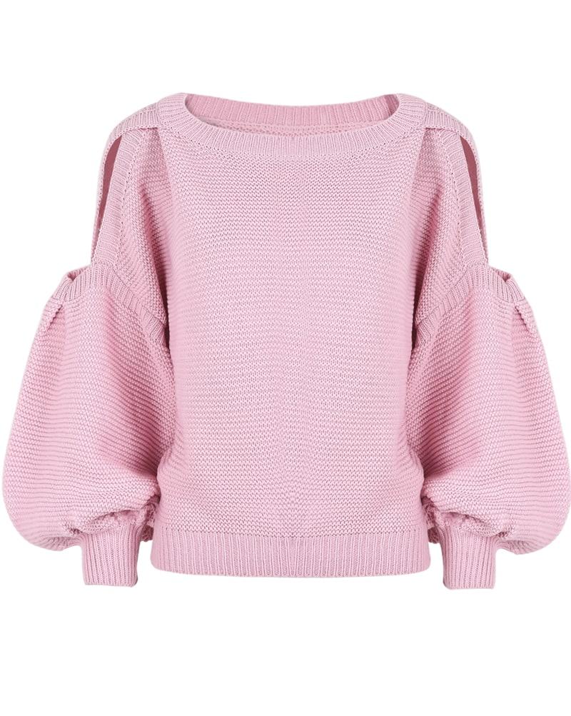 Purple Cut Out Shoulder Puff Sleeve Sweater Shein Sheinside