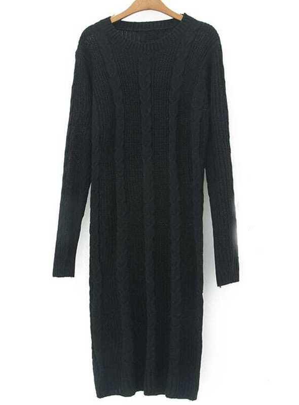 Black Long Sleeve Chunky Cable Knit Sweater Dress Sheinsheinside