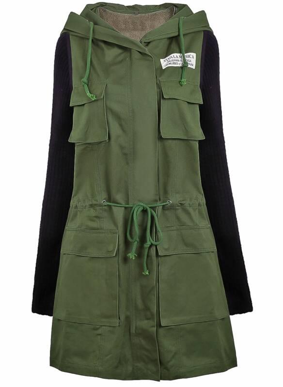 f6be4b4e6 Parka militar con capucha combinada manga punto-Verde