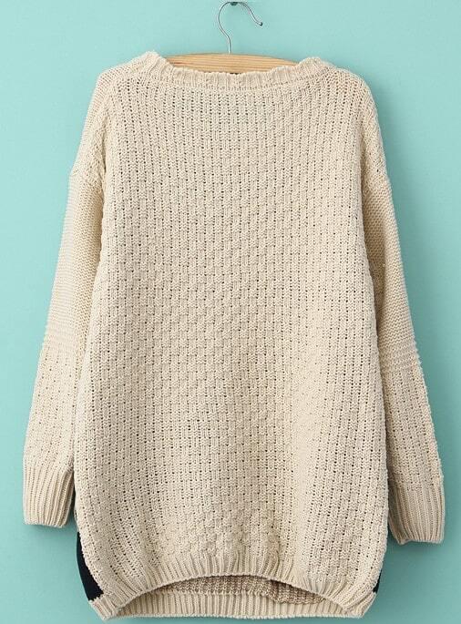 Cat Jumper Knitting Pattern : Beige Long Sleeve Cat Pattern Knit Sweater -SheIn(Sheinside)