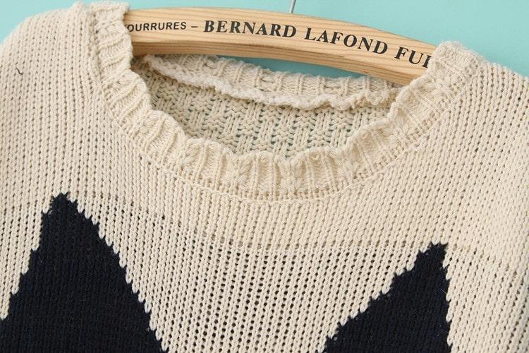 Beige long sleeve cat pattern knit sweater shein sheinside - Cat jumper knitting pattern ...