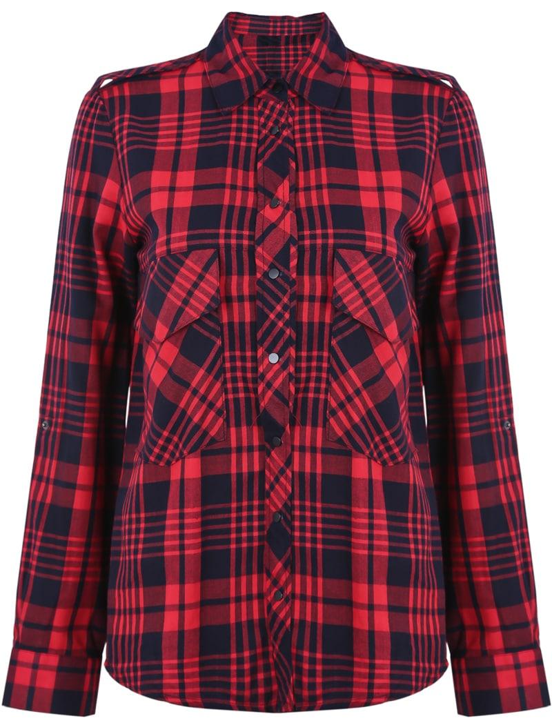 5b4fda76b35c0 Blusa solapa cuadros charreteras. Blusa solapa cuadros. Muchachas De La  Tela Escocesa Camisas