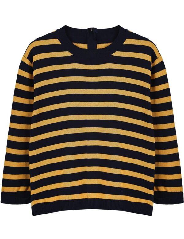 Black Yellow Striped Long Sleeve Crop Sweater Sheinsheinside