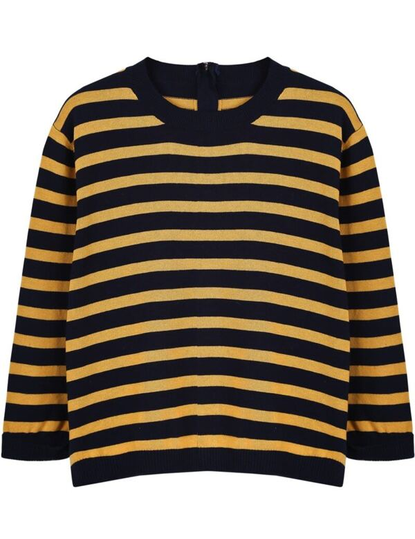 f4886bdaed9 Black Yellow Striped Long Sleeve Crop Sweater