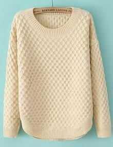 Beige Long Sleeve Diamond Patterned Sweater