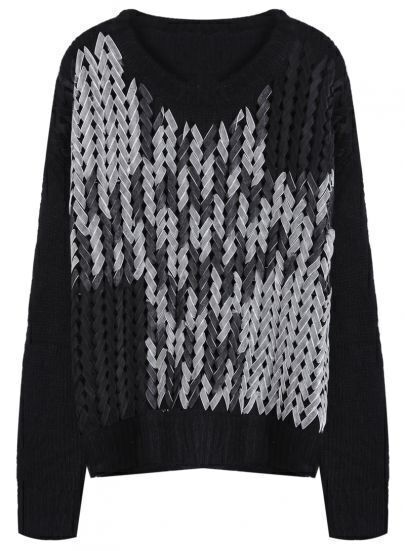 9fe7686cde Black Handmade Lace Up Front Sweater -SheIn(Sheinside)
