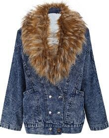 Blue Faux Fur Collar Long Sleeve Pockets Denim Coat