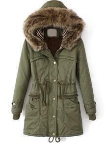 Army Green Faux Fur Hooded Drawstring Slim Coat